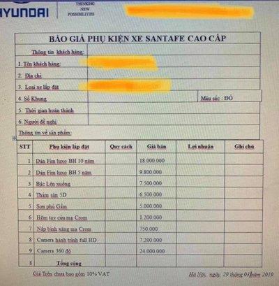 Lộ diện bảng phụ kiện giá chát đi kèm Hyundai Santa Fe bản cao cấp mới