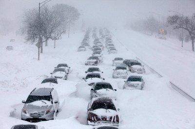 Tắc đường kinh hoàng ở Chicago, Illinois, Mỹ.