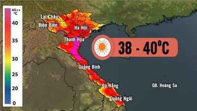 Hình ảnh dự báo về nắng nóng trên chương trình dự báo thời tiết của VTV...