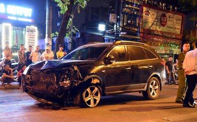 Chiếc xe Hyundai gây tai nạn tại đường Láng...