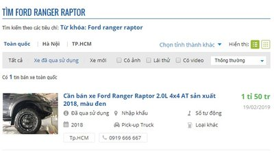 Chưa đầy 1 năm sử dụng, Ford Ranger Raptor trên thị trường cũ rớt giá gần 150 triệu đồng.