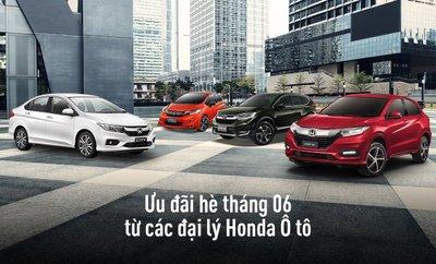 Các đại lý Honda có ưu đãi gì cho Honda Jazz, HR-V, City và CR-V trong tháng 6?.