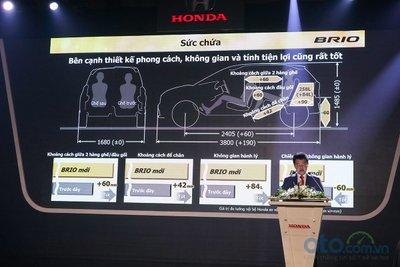 Kích thước Honda Brio 2019 lớn nhất phân khúc.