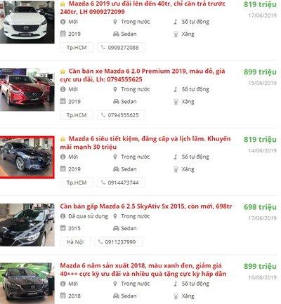 Mazda 6có khuyến mại gì tháng 6 không? a2