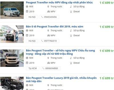 Giá xe Peugeot Traveller 2019 tại đại lý 1