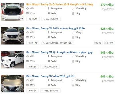 Nissan Sunny 2019 có khuyến mại gì.