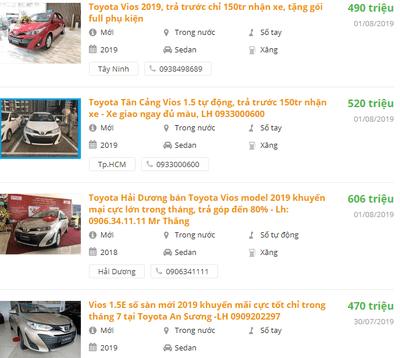 Toyota Vios2019 có khuyến mại gì.
