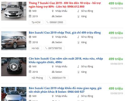 Giá xe Suzuki Ciaz2019 tại đại lý a1
