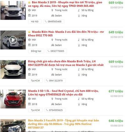 Giá bán xe Mazda 3 2019