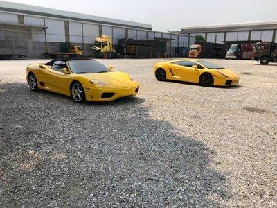 Bộ đôi Lamborghini Gallardo và Ferrari 360 Spider màu vàng