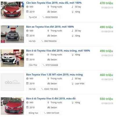 Đón tháng Ngâu, giá xe Toyota Vios 2019 tại đại lý tháng 8 ưu đãi mạnh.