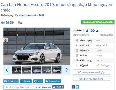 Honda Accord 2019 thế hệ mới bắt đầu được đại lý nhận đặt cọc với giá từ 1,1 tỷ đồng - Ảnh 1.
