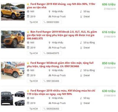 Giá xe Ford Ranger tại đại lý khuyến mại khủng đón tháng 9/2019.