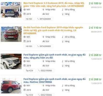 Ford Explorer 2019có khuyến mại gì?.