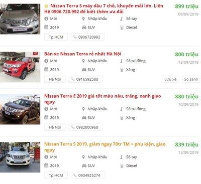 Giá xe Nissan Terra2019 tại đại lý phân phối 1
