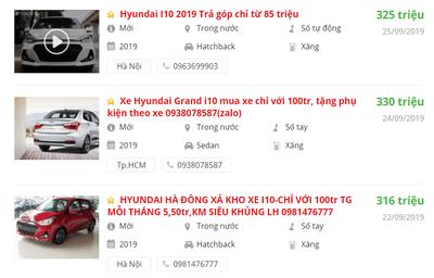 Giá bán xe Hyundai Grand i10 2019 mới nhất tại các đại lý.