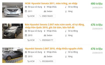 Giá bán xe Hyundai Sonata mới nhất.