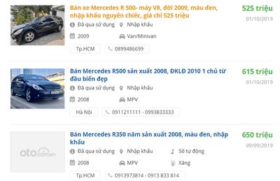 Giá bán xe Mercedes R class đời 2008-2009.