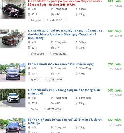 Giá xe Kia Rondo 2019 a1