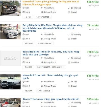 Giá xe Mitsubishi Triton 2019 a1