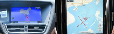 """Bản đồ """"đường lưỡi bò"""" trên xe Zotye Z8 tại Việt Nam."""