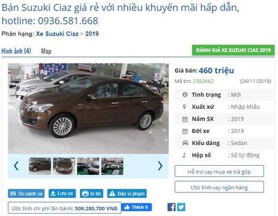 Giá xe Suzuki Ciaz tại đại lý