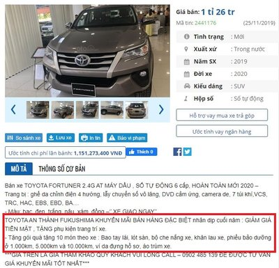 Giá xe Toyota tại đại lý