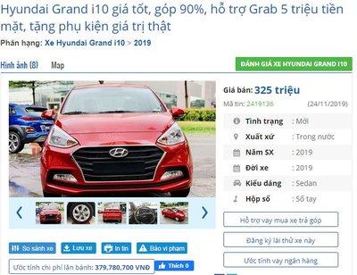 Đại lý hỗ trợ tiền cho khách mua xe chạy Grab