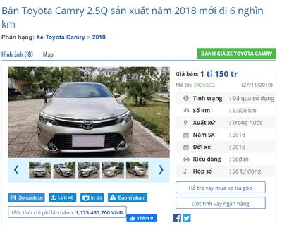 Giá xe Toyota Camry 2018 2.5Q đã qua sử dụng