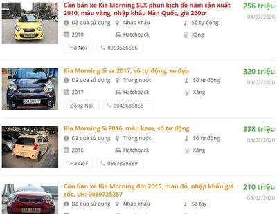 Kia Morning Si 2017 cũ có giá trên dưới 300 triệu đồng