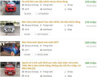 Chỉ từ 200 triệu đã có thể mua được một chiếc Chevrolet Spark cũ