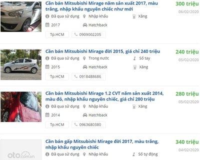 Mitsubishi Mirage cũ chỉ từ 285 triệu