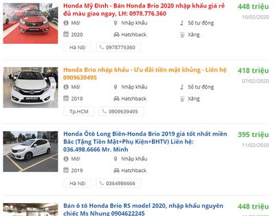 Giá xe Honda Brio bao nhiêu?.