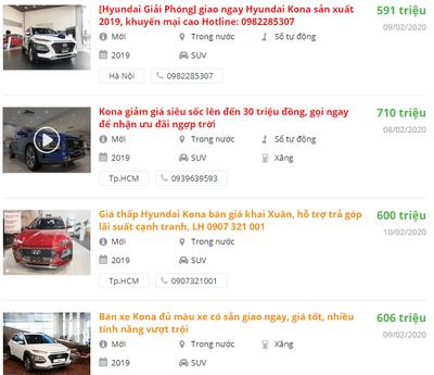 Giá bán xe Hyundai Kona 2020 mới nhất tại các đại lý.