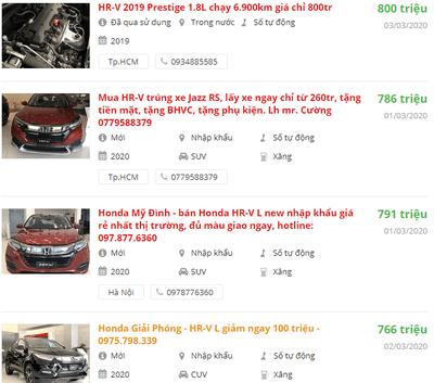 Giá xe Honda HR-Vbao nhiêu?.