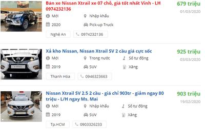 Giá xe Nissan X-Trail2020 tại các đại lý.