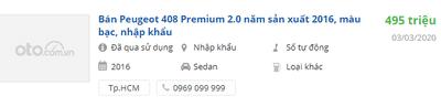 Giá xe Peugeot 408 2020 tại đại lý 1