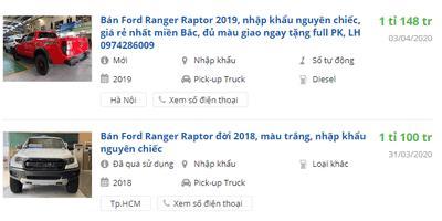 Ford Ranger Raptor 2020 có khuyến mại gì.