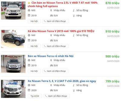 Giá xe Nissan Terra2020 tại đại lý phân phối.