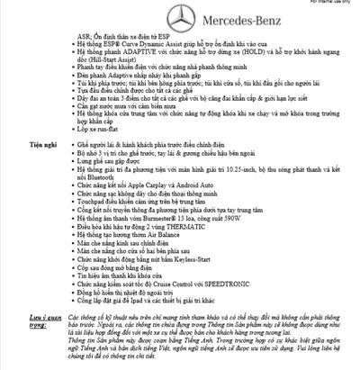Thông số kỹ thuật Mercedes C200 2020 2.