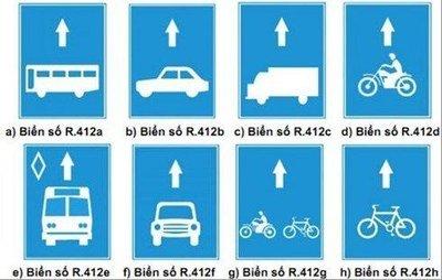Biển báo phân định rõ các làn đường dành cho phương tiện.