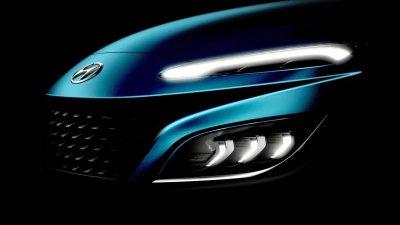 Hyundai Kona 2021 facelift với ảnh teaser nhá hàng đầu xe.