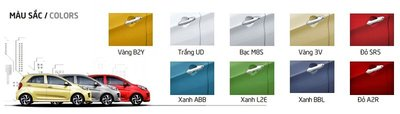 Bảng màu ngoại thất xe Kia Morning 2020 hiện hành 1