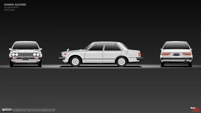 Honda Accord đời đầu vén màn năm 1976.