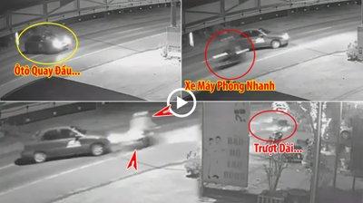 Tông trúng ô tô đang quay đầu, xe máy văng xa cả chục mét.