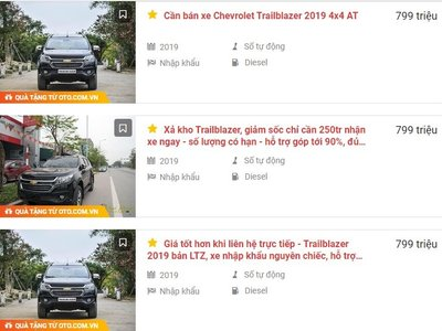 Chevrolet Trailblazer 2019 giảm giá hấp dẫn tại đại lý 1