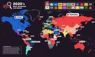 Toyota là thương hiệu xe hơi được tìm kiếm nhiều nhất trên toàn cầu.