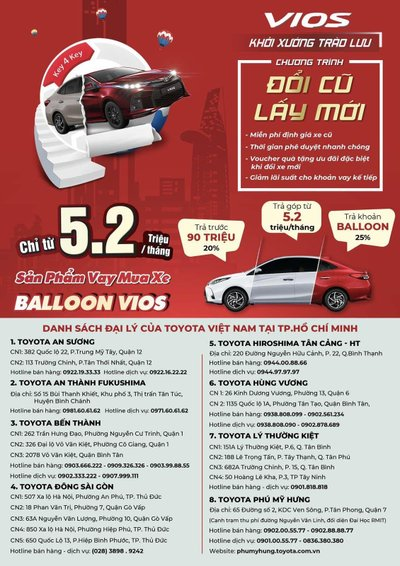 Mua xe Toyota Vios mới chỉ với 95 triệu trả trước.