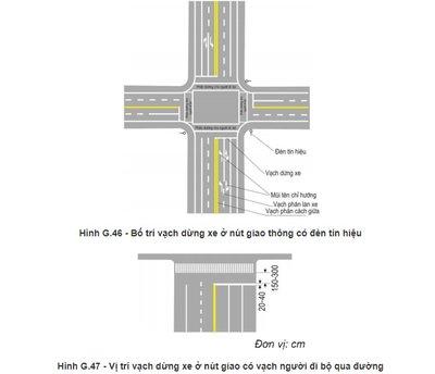 Các ngã tư có đặt đèn tín hiệu giao thông đều có vạch dừng xe (vạch 7.1 1