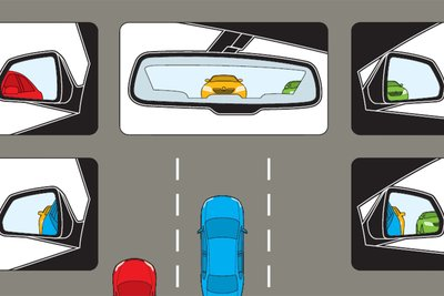 Quan sát kính chiếu hậu khi lái xe để chuẩn bị cho mọi tình huống.